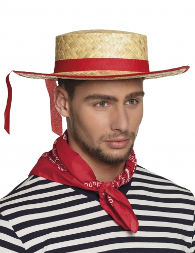Stroh-Hut Gondoliere-Hut für Erwachsene Kostümaccessoire gelb-rot
