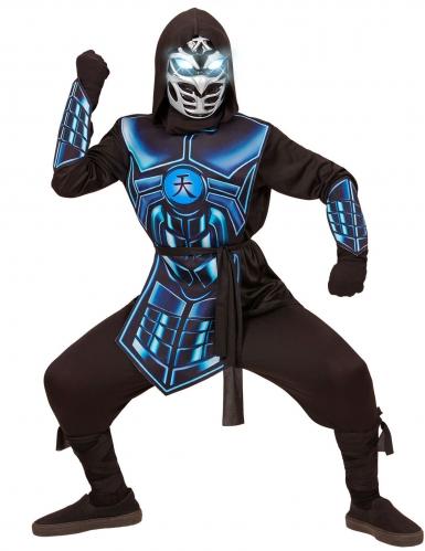 Ninja-Kostüm für Kinder mit Leuchtaugen und Sound schwarz-blau