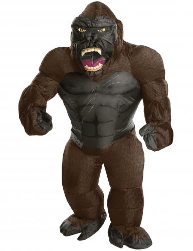 King Kong™-Lizenzkostüm Gorilla-Aufblaskostüm für Erwachsene braun-schwarz