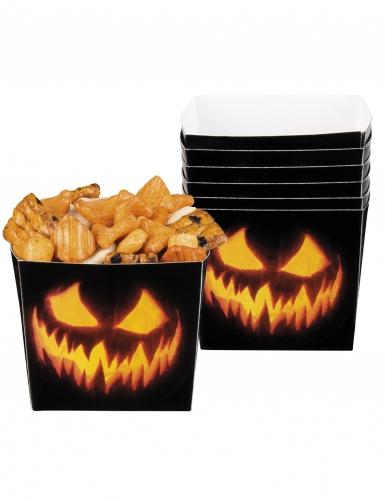 6 Kürbis-Snackbehälter Halloween-Dekoration schwarz-orange 400ml