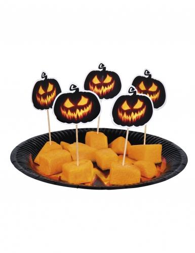 12 Kürbis-Piekser Halloween-Dekoration schwarz-orange 12cm