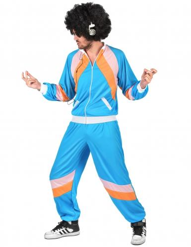 Retro-Jogger-Kostüm für Erwachsene blau-orange-rosa