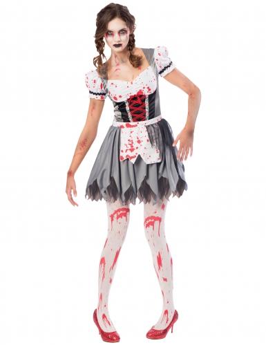 Zombie-Oktoberfest-Kostüm für Damen grau-weiss-rot