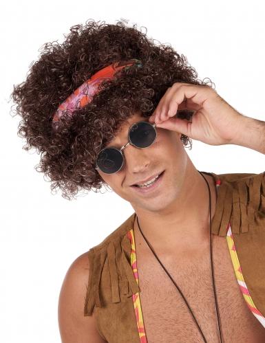 Afro-Perücke Hippie Kostüm-Accessoire braun-bunt