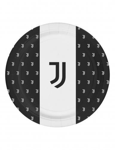 Juventus™-Papierteller Tischdeko 8 Stück schwarz-weiss 23cm
