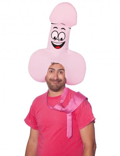 Lustiger Penis-Hut für Erwachsene rosa-schwarz-rot