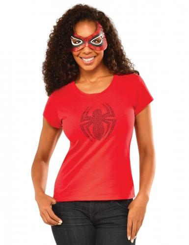 Spidergirl™-Kostüm für Damen Faschingskostüm rot