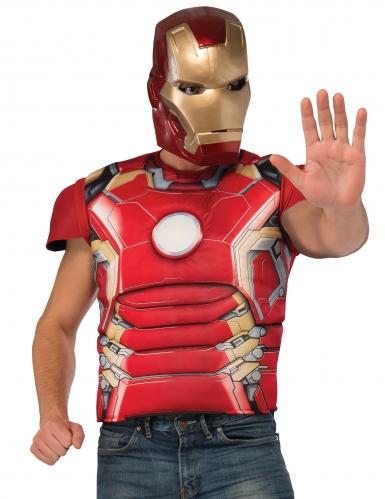 Iron Man™-T-Shirt und Maske für Herren rot-gold