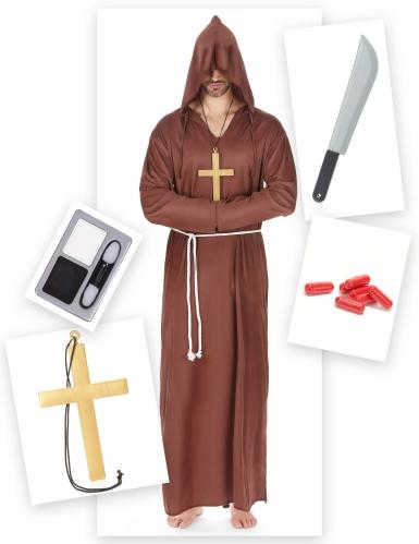 Zombie-Mönch Halloweenkostüm-Set für Herren 15-teilig braun