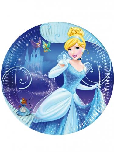 Cinderella™-Pappteller Tischdeko 8 Stück blau 23cm