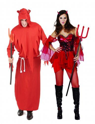 Teuflisches Halloween-Paarkostüm rot