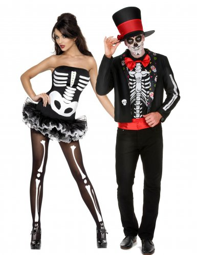 Skelett-Paarkostüm für Erwachsene Tag der Toten schwarz-weiss