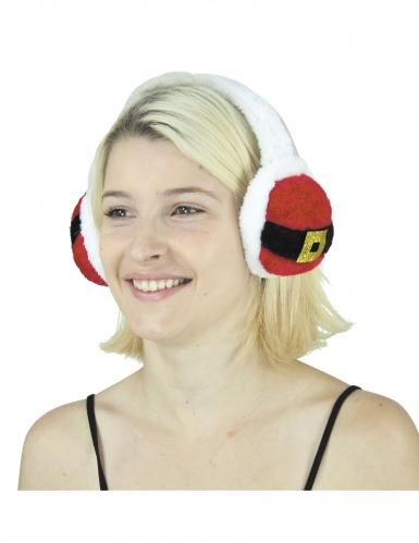 Ohrenschützer Ohrenwärmer Weihnachtsmann für Erwachsene rot-schwarz-weiss