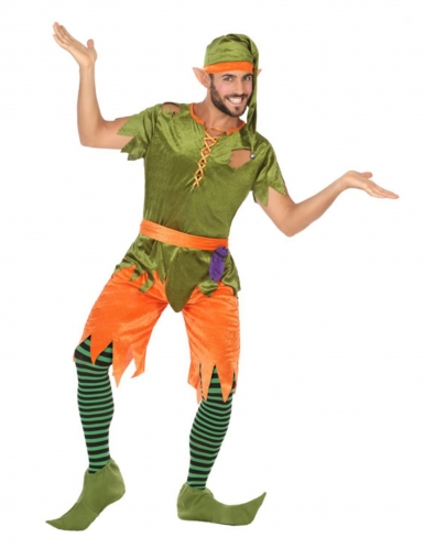 Elfen-Kostüm für Herren Faschingskostüm grün-orange