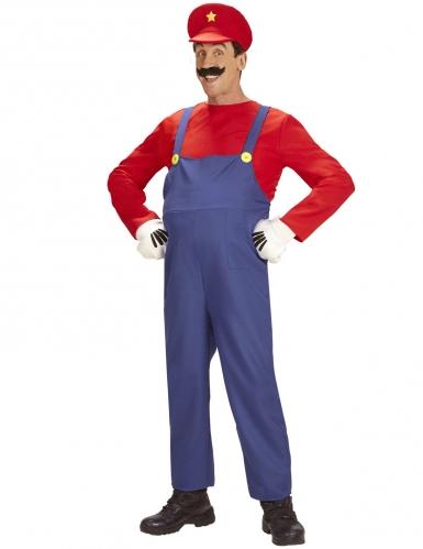 Mechaniker-Kostüm für Herren Karnevalskostüm blau-rot