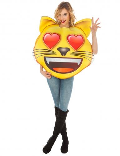 Emoji™-Katzenkostüm mit Herzaugen Faschingskostüm gelb-rot