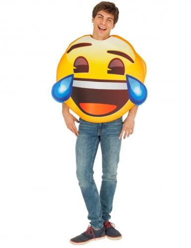 Lachendes Emoji™-Kostüm mit Tränen Faschingskostüm gelb-braun-blau