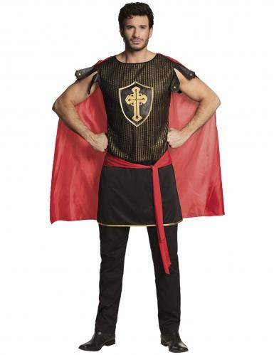 Mittelalterlicher Ritter Kostüm für Herren schwarz-rot
