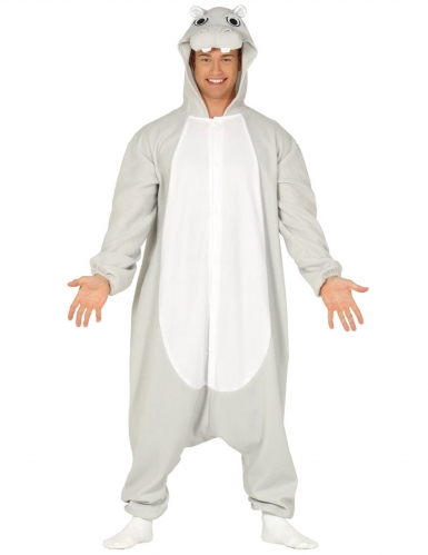 Nilpferd-Kostüm Tierkostüm grau-weiss