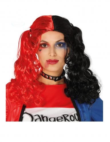 Verrückte Perücke für Damen mit Locken schwarz-rot