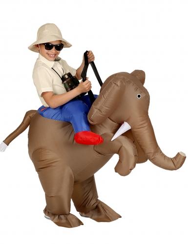 Huckepack-Kostüm für Kinder aufblasbares Elefantenreiter-Kostüm braun-blau-rot