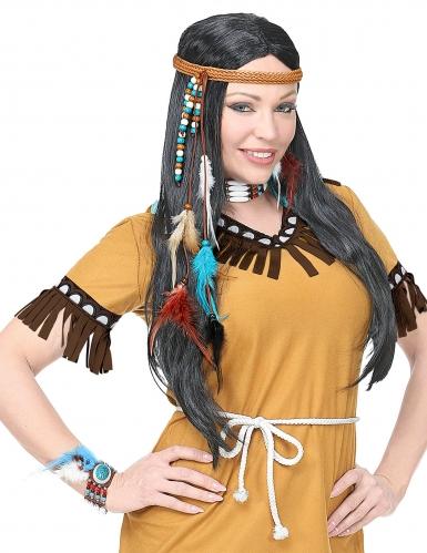 Indianer-Accessoire-Kit 5-teilig blau-braun-weiss