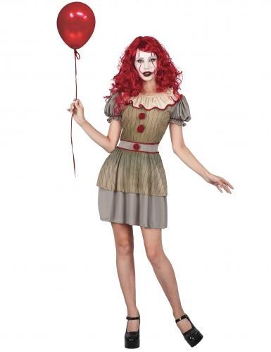 Gruseliges Horror-Clown-Kostüm für Damen gold-grau