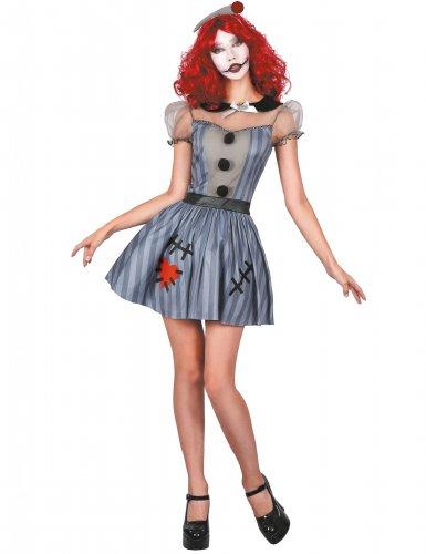 Puppen-Damenkostüm grau-schwarz-rot