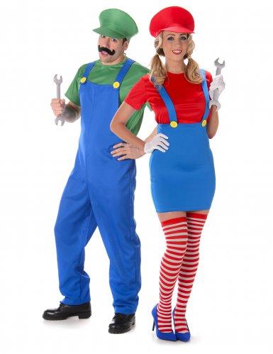 Klempner-Partnerkostüm Faschingskostüm blau-grün-rot