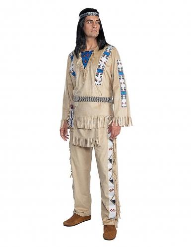 Winnetou™-Kostüm für Herren Indianer-Kostüm Fasching braun-blau