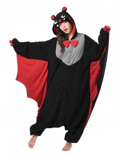 Fledermaus-Kostüm Kigurumi™ schwarz-grau-rot