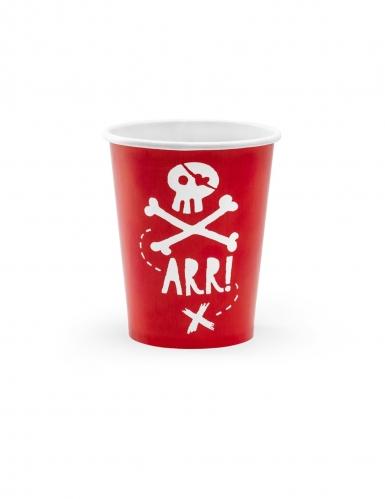 Piraten-Trinkbecher aus Karton Tisch-Dekoration 6 Stück weiss-rot 220ml