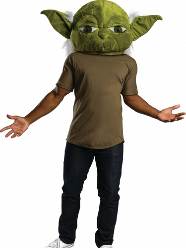 Yoda™-Plüschmaske für Erwachsene grün-weiss