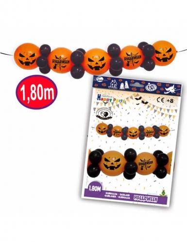 Kürbis-Girlande mit Luftballons Halloween-Deko orange-schwarz 1,8m