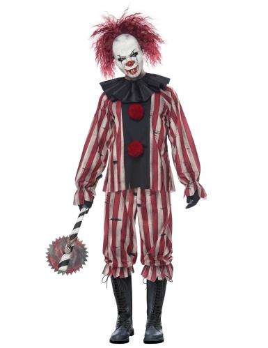 Dämonisches Clown-Kostüm für Herren Halloween-Kostüm rot-grau