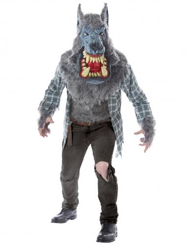 Werwolf-Kostüm für Herren Halloween-Kostüm grau-rot