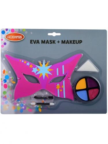 Superheldin-Make-up-Set mit Maske für Kinder 5-teilig bunt