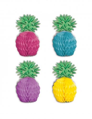 Papier-Ananas Tischdeko 8 Stück bunt 12 cm