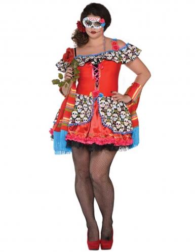 Tag der Toten Kleid in Übergrösse Halloween-Damenkostüm rot-bunt