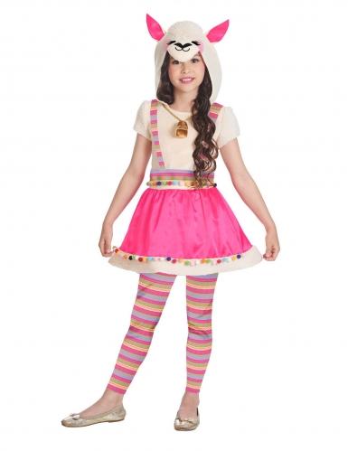 Lama-Kostüm für Mädchen Kinderkostüm für Fasching pink-bunt