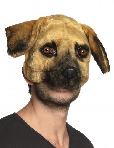 Hunde-Maske mit Fell Karnevalsmaske braun