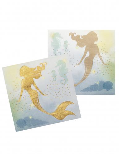 Meerjungfrau-Servietten aus Papier 12 Stück 33 x 33 cm blau-gold