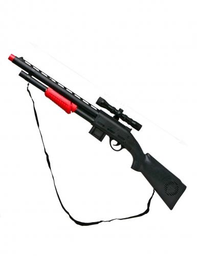 Spielzeug-Gewehr mit Zielfernrohr und Schultergurt schwarz 68cm