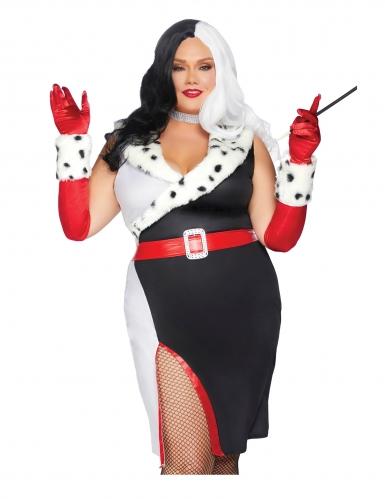 Hundefängerin-Kostüm für Damen Plus Size Halloween schwarz-weiss
