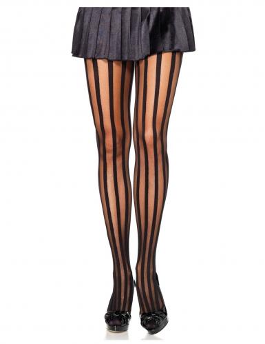 Strumpfhose für Damen vertikal gestreift Accessoire haut-schwarz