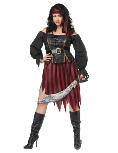 Piratin-Kostüm in Übergrösse Piraten-Kostüm für Damen Karneval-Kostüm schwarz-gold-rot