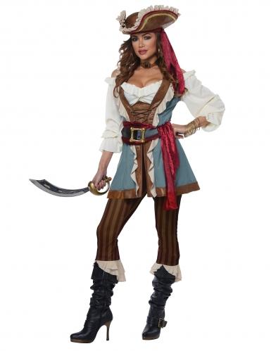 Piratinnen-Kostüm Karnevalskostüm für Damen braun-blau-weiss