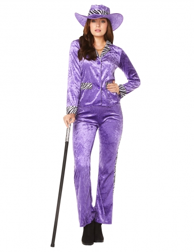 80er-Jahre Zuhälter-Kostüm für Damen violett-schwarz-weiß
