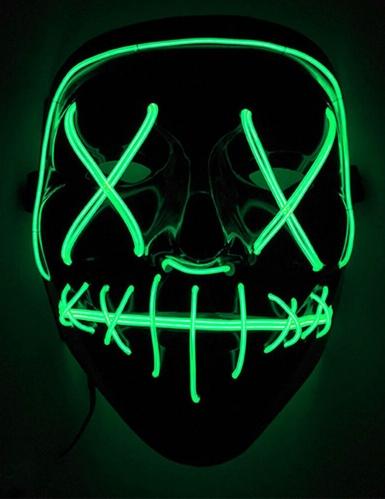 LED-Maske Mord-Nacht Halloween-Maske schwarz-grün