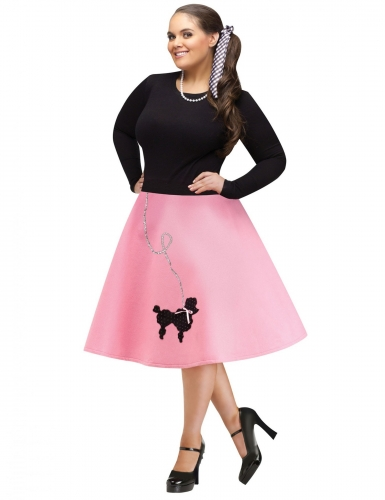 Rockabilly-Rock für Damen 50er-Rock Fasching rosa-schwarz